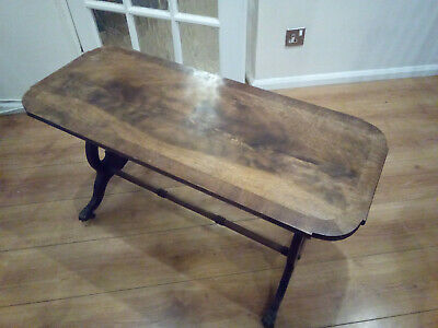 Vintage Solid wood layered Oak Coffee Table with spindles and brass castors