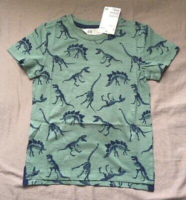 Toddler Boy 2-4 Years H&M Green Dinosaur Fossil Print Short Sleeve Tee Shirt