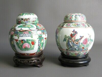 2 Vases Oriental Porcelain Chinese Painted with Bases Wood Period Xx Century