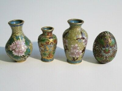 Lot 3 Small Pots & 1 Egg Decorated with Enamel Cloisonne' Chinese