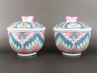 Vintage Pair of Vases Porcelain Eastern Chinese Hand Painted Period Xx Century