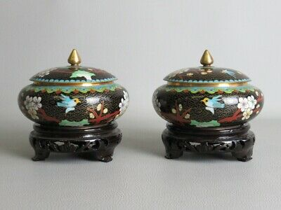 Precious Pair of Vases Potiche Chinese Technical Cloisonne' on base Wood Xx