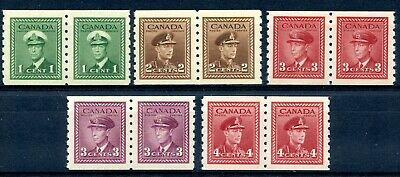 Weeda Canada 263-267 VF MNH set of KGVI War Issue coil pairs CV $66