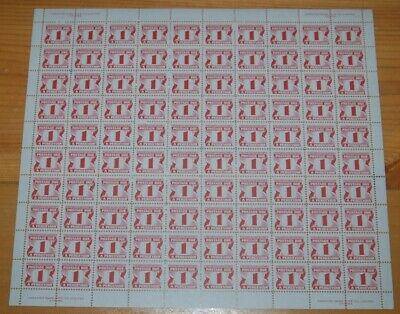 Weeda Canada J28ii VF MNH pane of 100, 1c carmine rose 1973-74 Third issue CV$52