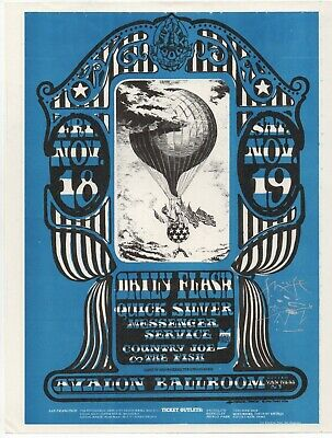 Original '66 Family Dog Quicksilver Messenger Service Handbill Fd35 Signed Mouse