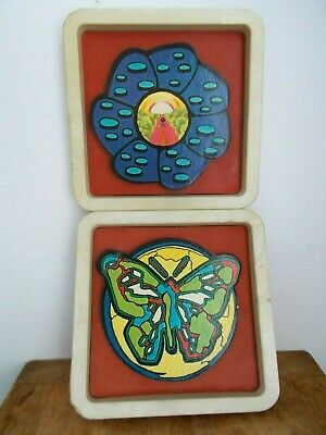Vintage Pr. 1970 Peter Max Style Black Light Wall ART - Psychedelic Hippy MOD