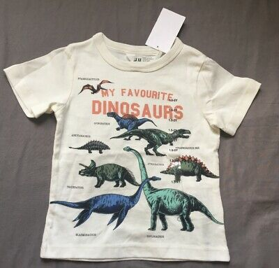 Toddler Boy 18-24 Month H&M Off White My Favorite Dinosaur Short Sleeve T-Shirt