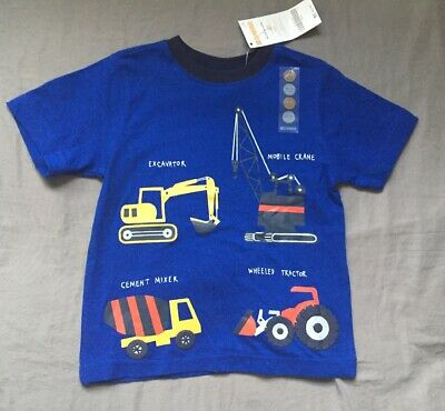 Toddler Boy 18-24 Month Gymboree Royal Blue Construction Vehicle Tee Shirt