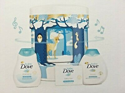 Baby GIft Dove Rich Moisture Lullaby Musical Tin Gift Set-Shampoo/Soap /Lotion