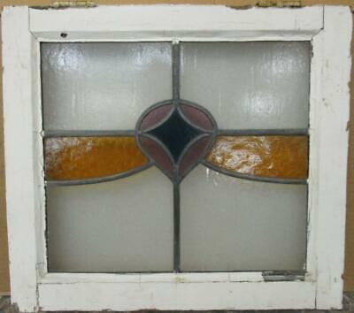 "OLD ENGLISH LEADED STAINED GLASS WINDOW Stunning Sweep Design 21"" x 18.75"""