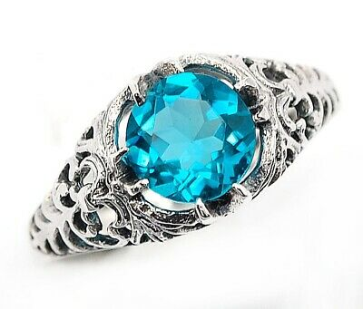 2CT Blue Topaz 925 Solid Sterling Silver Art Deco Style Ring Jewelry Sz 7, FL2