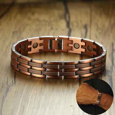 Men's Pure Copper Magnetic Arthritis Pain Relief Therapy Link Jewelry Bracelet