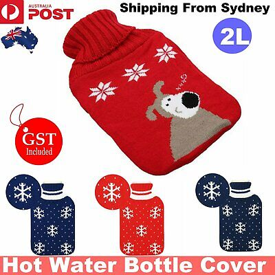 2000ml HOT WATER BOTTLE Winter Warm Rubber Bag Knitted Cover Relaxing Warmer NEW