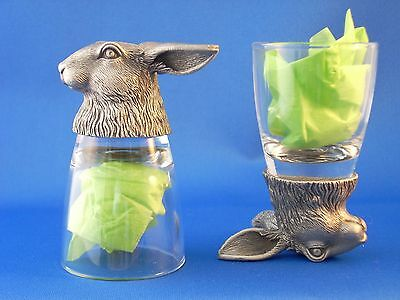 Rabbit Bunny Hare Animal Head Shot Glasses Set of 2 Shooter - Glass and Pewter