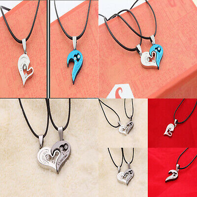 2pcs Couple Fashion Combine into Heart Shaped Necklace Pendant Jewerly Gifts