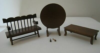 3 Vtg Doll House Wooden Miniature Tilt Top Table Bench Low Occasional Coffee