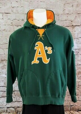 Majestic MLB Oakland Athletics A's Hoodie Jacket Cooperstown Green Gold Stomper