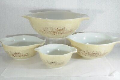 Set of 4 Pyrex Nesting Princess Mixing Bowls Forest Fancies (Mushroom)