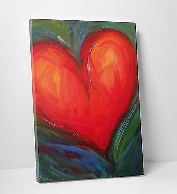Abstract Heart Red & Green Oil Paint Home Wall Art Canvas Print Picture A2 A1 A0