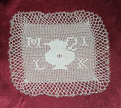 vintage crocheted milk jug cover MILK spelt out pink crystal beading