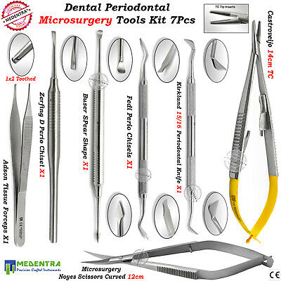 Periodontal Micro Surgery Tools 7Pcs Kit Dental Surgical Knives Scissors Forceps