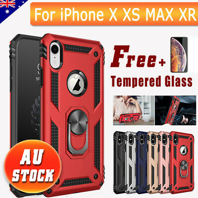 For iPhone X XS MAX XR Case Heavy Duty Shockproof Magnetic Armor Cover Stand