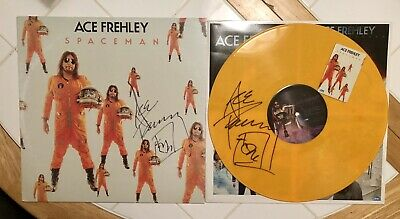 KISS Spaceman Ace Frehley LIMITED ORANGE  LP (w/download Card) Signed Twice!!!