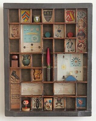 Great Quirky Cabinet of Curio's in Vintage Letterpress Printers Tray Drawer