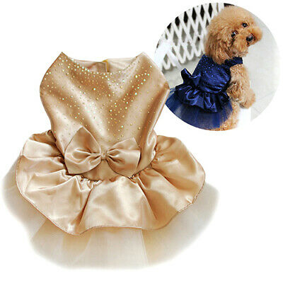 Lovely Puppy Dog Wedding Dress Bowknot Lace Party Pet Clothes Costume Apparel C