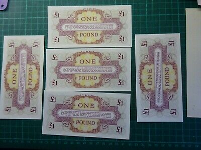 BRITISH ARMED FORCES FIVE UNCIRCULATED £1 BANK NOTES CONSECUTIVE NOS 4th SERIES