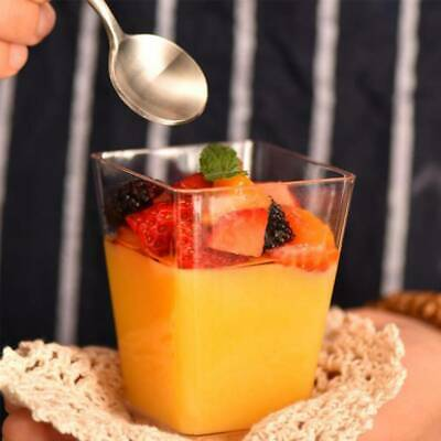 50x Square Dessert Cups Plastic 4oz Mini Cube Clear Sample Shot Party Decor UK
