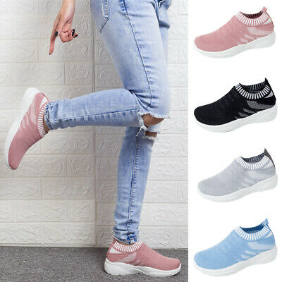 Womens Breathable Mesh Walking Shoes Ladies Slip On Outdoor Trainers Sneakers
