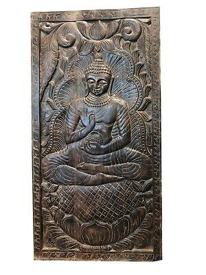 Vintage Buddha with Begging Bowl Zen Wall Decor Hand Carved Wood Art Panels
