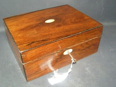Antique Rosewood Document Box Working Lock & Key c1870  Mother Of Pearl Center