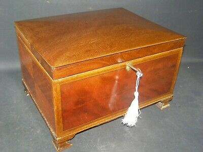 Antique Banded Mahogany Box Bracket Feet Working Lock & Key c1870 Domed Lid