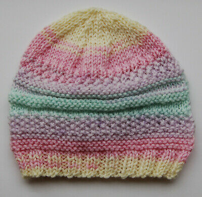 Hand knitted Baby Hat  Yellow Pink and Green Mix  Newborn