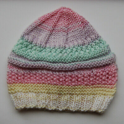 Hand knitted Baby Hat   Pink Yellow and Green Mix  Newborn