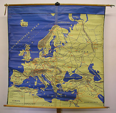 Schulwandkarte Wall Map Waterproof Map Europe Europe Tablecloth 155x159 ~ 1960