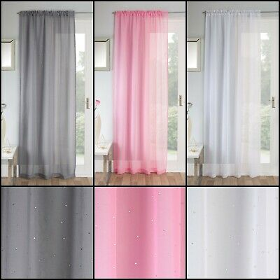 Jewel Diamante Sparkle Voile Curtain Panel Slot Top Header In Grey, Pink, White