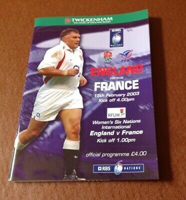 Rugby Programme England v France 2003, with ticket
