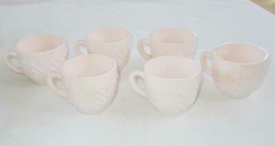 Set of 6 Vintage Pink Milk Glass Cups, Jeannette SHELL PINK Glass Punch Coffee