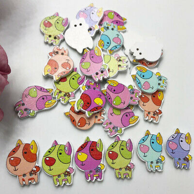 50PCs Wooden Sewing Buttons Scrapbooking dogs 2 Holes 24mm Costura Botones WB598