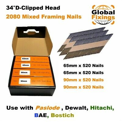 MIXED 2080 x 65mm, 65mm, 90mm, 90mm Galv Ring Framing Nails for DEWALT, Paslode