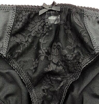 Vintage House of Satin Front Lace Panel Knickers Size 8 Black