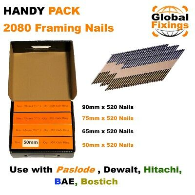MIXED 2080 x 65mm, 65mm, 90mm, 90mm Galv Smooth Framing Nails for DEWALT,Paslode