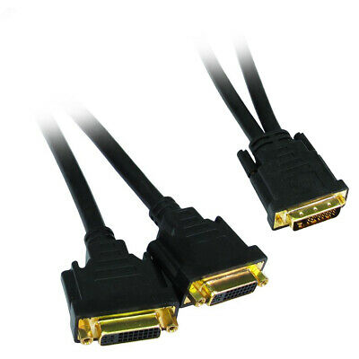 DVI-D Y-Splitter Cable 1 x Male Plug to 2 x Female  Sockets GOLD Pins Connectors