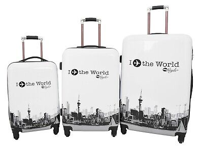 4 Wheel Suitcases World Tour Hard Shell Built-in Lock Luggage Printed Travel Bag