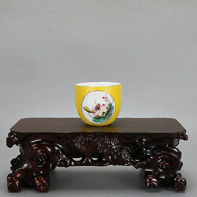 China antique Porcelain Qing qianlong Mark yellow glaze painting flower cup