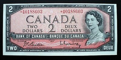 1954 Bank of Canada $2 Dollars Replacement Note *A/B 0188603  BC-38bA