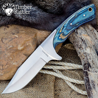 """10"""" Timber Wood Hunting Skinning Survival Fixed Blade Full Tang Knife Bowie Blue"""
